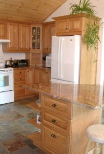Kitchen cabinets, island, fridge