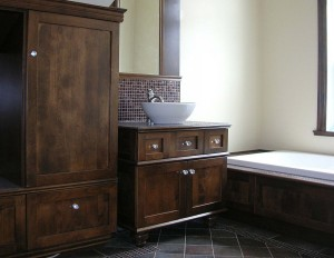 Comtemporary bathroom - Podium bath, vanity