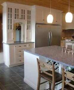 Kitchen - Glass cabinet doors, fridge