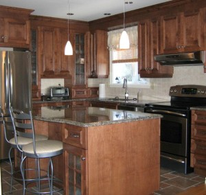 Wood kitchen cabinets, island