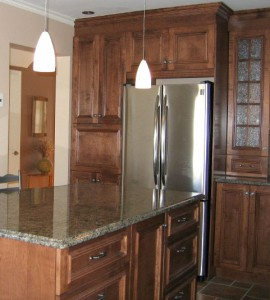 Cabinets and cupboards, frosted glass, kitchen island, fridge
