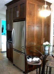 Cuisine contemporaine - Armoires de bois foncé, réfrigérateur