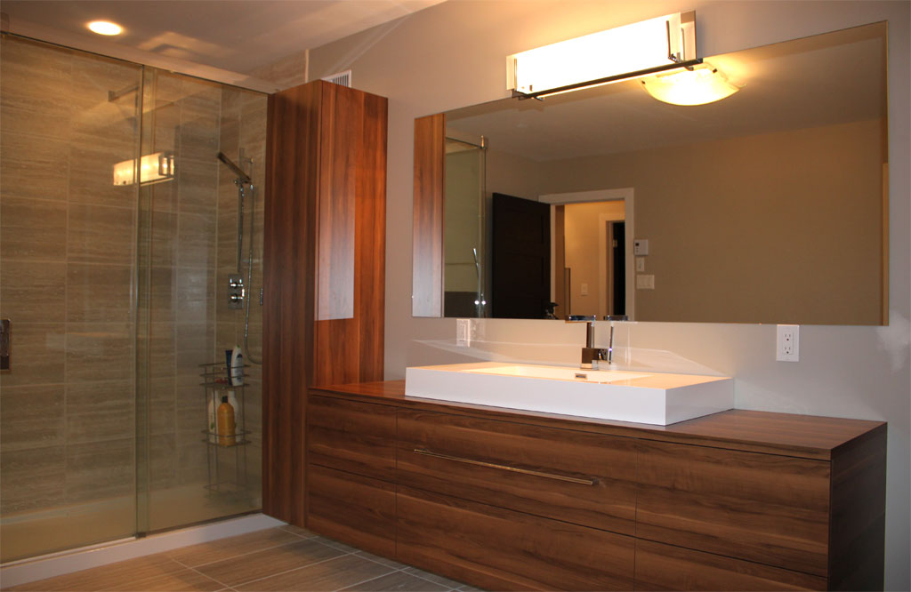 Sunset les armoires saint romain inc for Salle de bain moderne bois